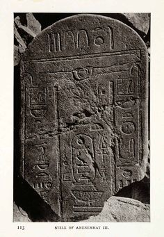 This is an original 1906 sepia halftone print of the Stele of Amenemhat III; Sinai, Egypt. CONDITION This 105+ year old Item is rated Near Mint / Very Fine. Light aging throughout. No creases. No natu