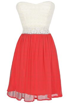 Bright Days Chiffon and Lace Dress in Red  www.lilyboutique.com