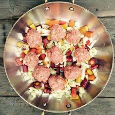 Preserved Lemon Turkey Meatballs over jewel carrots, fennel and bacon fat #autoimmune #autoimmunepaleo #aipdiet #aiplifestyle #AIPonedishpaleo #autoimmuneprotocol