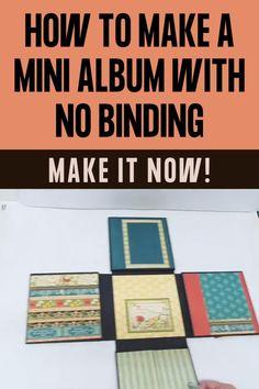 Diy Mini Album Tutorial, Book Crafts, Paper Crafts, Baby Mini Album, Homemade Books, Mini Photo Albums, Album Book, Mini Scrapbook Albums, Book Making