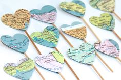 Vintage Atlas Heart Shaped Cupcake Toppers Set of by tenpennygray, $5.50