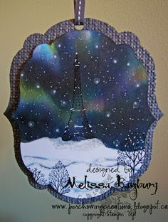 Porch Swing Creations: Night Lights in Paris - Tutorial - incredible inking tutorial for recreating the Northern Lights in a card!