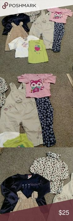 18-24 months Bundle Everything is 18-24 months except skirt overalls & sleeveless shirt. They are 12. Brands include: Old Navy, Carter's, Children's Place, jumping bean,& baby Gap. GAP Matching Sets