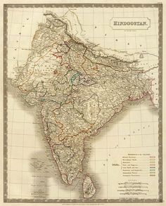 Map of Hindostan (India) - Old map reproduction - India map fine print on paper or canvas