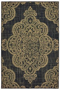 Charlton Home Salerno Over-scale Medallion Tan Indoor/Outdoor Area Rug Charlton Home Navy Blue Area Rug, Beige Area Rugs, Kids Outdoor Furniture, Indoor Outdoor Area Rugs, Accent Rugs, Warm Colors, Cabana, Traditional Styles, Neutral Palette