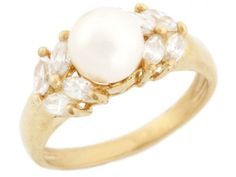 14k Solid Gold Freshwater Cultured Pearl & Marquise CZ Ring Jewelry (Style#2958), Women's, Size: 8.25, White