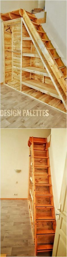 Pallet wardrobe is quite an inspiring project for your house corner. This wood pallet idea offer you with so many services at one time such as it can act as a staircase. Plus you would also be finding the service access of cabinets in it for placing some decoration pieces.
