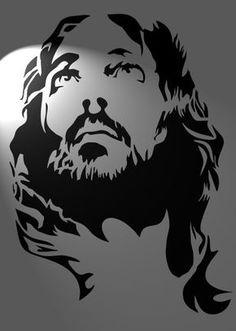 Jesus Christ stencil mylar cut in format a4 size