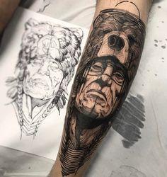 Tatuagem de urso e índio feita por Fredão Oliveira. #tatuagem #tattoo #blackwork #urso #indio #animal