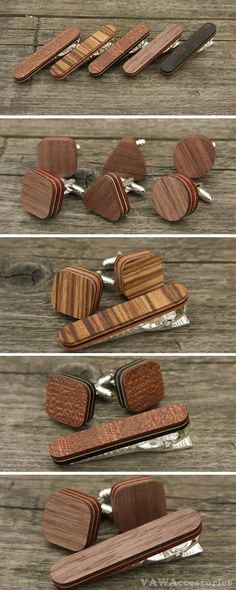 Cherry Wood Tie Bar Engraved in The USA Wooden Accessories Company Wooden Tie Clips with Laser Engraved Macaroon Design
