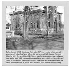 This Wichita school named for poet Will Carleton was located at 428 S. Lawrence. Photo taken in 1879, the year the school opened. (The street's name was changed to Broadway in 1933.)