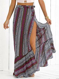 Vintage Boho Print Split Long Skirt Summer Soft Cotton High Waist Mermaid Skirt Women Beach Loose Wrap Maxi Skirts as pic Skirt Outfits Modest, Denim Skirt Outfits, Casual Skirts, Casual Outfits, Midi Rock Outfit, Burgundy Outfit, Casual Fashion Trends, Bohemian Mode, Printed Maxi Skirts