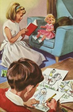 Drawing and reading - Peter And Jane, 6b We Like To Help.book Illustrator: M. Atchinson 1965