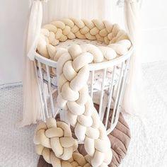 Braided crib bumper knot crib bumper crib bedding braid | Etsy Knot Cushion, Knot Pillow, Bolster Pillow, Pillows, Nursery Themes, Nursery Decor, Baby Bumper, Crib Rail, Mini Crib