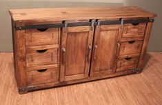 Outstanding Quality Rustic Solid Wood TV Stand Entertainment Console with sliding doors and drawers storage Barn Door Cabinet, Barn Door Tv Stand, Barn Wood, Rustic Wood, Rustic Barn, 70 Inch Tv Stand, Armoire, 70 Inch Tvs, Large Tv Stands