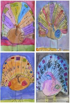 tom turkey torn paper collage thanksgiving art projects for kids