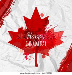 Holiday poster with red Canada maple leaf drawn on crumpled white paper. Design for banner or greeting cards - buy this vector on Shutterstock & find other images. Maple Leaf Drawing, Canada Maple Leaf, Happy Canada Day, Watercolor Background, Royalty Free Stock Photos, Banner, Greeting Cards, Special Holidays, Illustration