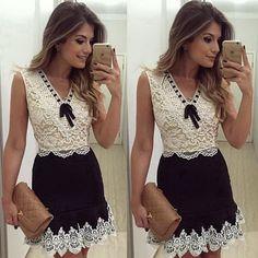 Encontre mais Vestidos Informações sobre 2016 novas mulheres preto e branco vestido de renda senhoras sem mangas vestidos vintage casual mini vestido Bow, de alta qualidade vestido de sofá, vestidos marshalls China Fornecedores, Barato dresse de Fashion Style 2016  em Aliexpress.com