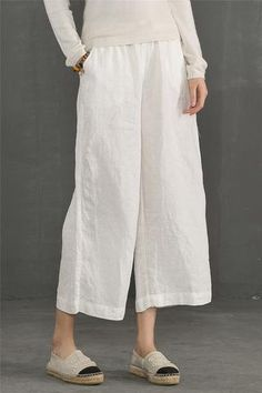 Linen Trousers White Women Slacks Pants K56101