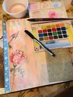 Watercolors and collage in art journal by KZbrzezny  PaperPumpkin.blogspot