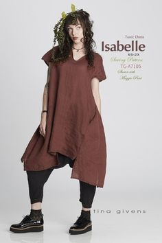 Isabelle Tunic Dress sewing pattern from Tina Givens - Easy Sewing Projects 2020 Couture, Linen Dresses, Dresses Dresses, Top Pattern, Pattern Sewing, Tunic Sewing Patterns, Pattern Ideas, Silk Chiffon, Simple Dresses