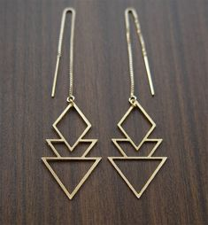 On SALE SALE Geometric Art Deco Earrings Gold Filled by friedasophie on Etsy https://www.etsy.com/listing/192991999/on-sale-sale-geometric-art-deco-earrings