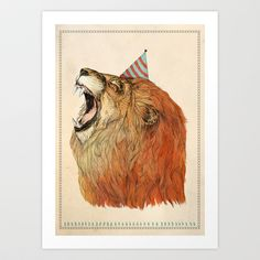 Birthday Lion Art Print by Sandra Dieckmann - $19.00