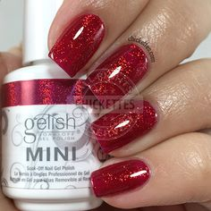 nails.quenalbertini: Gelish 'Good Gossip' is color red with a sparkly glittery finish