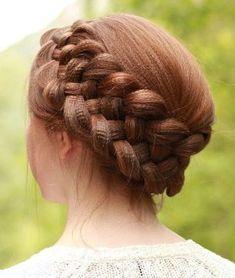 5 strand braid crown for crimped hair.