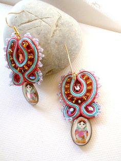 #jewelry Matryoshka  framboise earrings  african violet by beadsofaquarius,