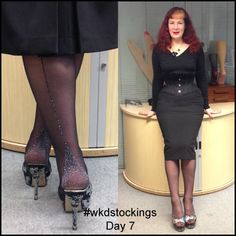 12 Days of Stockings Giveaway! Day 7: Katie wears silver Metallic Retro Seamed Stockings. All you need to do to enter is retweet, share, regram or pin our daily stocking images using #wkdstockings Each day we're posting an image showing you how the WKD team wears our stockings! We will randomly select a person a day to win the stockings featured, at the end we'll be choosing one name to win all 12 pairs! Winners announced on What Katie Did Blog. All the info: http://tinyurl.com/oneklxx