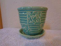 Vintage McCoy Pottery Flower Pot Planter Teal Green 1940'S | eBay