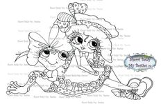INSTANT DOWMLOAD Digital Digi Stamps Big Eye Big Head Dolls Digi  My Besties IMG062 By Sherri Baldy
