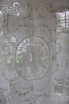 antique French lace curtain