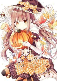 anime, Halloween, and anime girl image Art Kawaii, Manga Kawaii, Loli Kawaii, Kawaii Anime Girl, Anime Art Girl, Anime Girls, Manga Anime, Anime Chibi, Art Manga