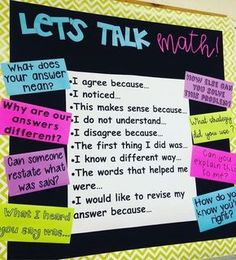 My friend teaches Middle School Math. I am stealing her bulletin board idea for accountable talk. My friend teaches Middle School Math. I am stealing her bulletin board idea for accountable talk. Fourth Grade Math, First Grade Math, Sixth Grade, Eureka Math 4th Grade, Seventh Grade, Second Grade, Math Bulletin Boards, Bulletin Board Ideas Middle School, Math Posters Middle School