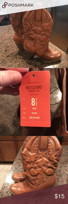 NWT Target cowboy boots! Light brown cowboy boots from Target with bronze/gold accents. New with tags!! Great addition to any closet! Mossimo Supply Co Shoes Heeled Boots