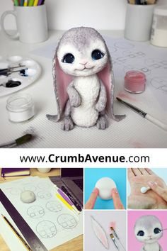 PDF TUTORIAL with TEMPLATES - Cute Bunny Cake Topper /fondant, gum paste, rabbit, figurine, baby shower, Easter