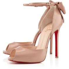 Christian Louboutin Dos Noeud ($1,045) ❤ liked on Polyvore featuring shoes, pumps, heels, sapatos, christian louboutin, nude, view all, famous footwear, high heel pumps and leather pumps
