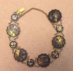 Vintage JAPAN Gold Black and Silver Antique Damascene Bracelet - Stunning!