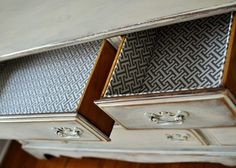 Lined drawers are such a fun pop of color and pattern to shabby chic furniture!