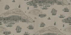 Trade Routes - Zoffany Wallpapers - Based on antique map engravings, showing scenes of ships and islands. Shown in black etching on a metallic pale silver. Available in 3 colourways. Please ask for sample for true colour match. Beige Color, Colour Match, Zoffany Wallpaper, Green Highlights, True Colors, Vintage World Maps, Wall Art, Islands, Antiques