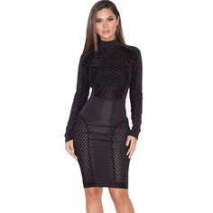 Black Mesh Sexy Club Wear Wome Party Dresses New Arrival Winter 2016 Long Sleeve White Stretchy Bodycon Bandage Dress