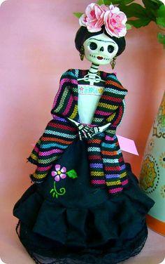 Frida Catrina paper mache doll  586599206cc