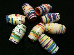 Water Proof Duct Tape Beads  •  Free tutorial with pictures on how to make a beads in 4 steps