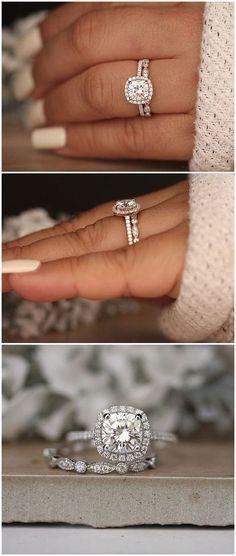 1.20ct Moissanite Engagement Ring, Cushion 7mm Moissanite 14k White Gold and Diamond Ring, Diamond Half Eternity Milgrain Band, Promise Ring #UniqueEngagementRings