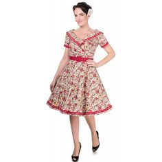 Violet Sailor Style 50's Swing Dress in Pink/Red