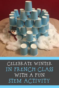 Fun Winter STEM activity for your French class! You can link this activity to learning about winter festivals in Quebec. French Teaching Resources, Teaching Activities, Teaching French, Hands On Activities, Stem Activities, Teaching Ideas, Winter Activities, Learning French For Kids, How To Teach Kids