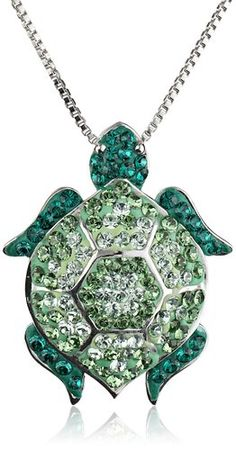"""Amazon.com: Carnevale Sterling Silver Green Turtle with Swarovski Elements Pendant Necklace, 18"""": Jewelry $63.63"""