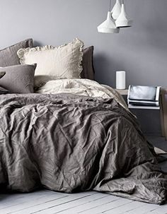 Pure Linen Duvet Quilt Cover 2pc set Twin Single Genuine 100% Linen French Country Old Fashion Charcoal Gray, http://www.amazon.com/dp/B00SS3JNEK/ref=cm_sw_r_pi_awdm_yiKHvb046Q2WG